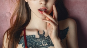 Brunette Portrait Display Brown Eyes Finger On Lips Pink Lipstick Tank Top Tattoo Looking At Viewer  1575x2100 Wallpaper