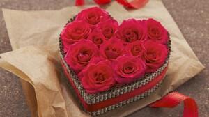 Box Heart Rose Heart Shaped Red Rose Flower Valentine 039 S Day 1920x1200 Wallpaper