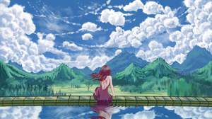 Landscape Clouds From Behind Back Hair Blowing In The Wind Reflection Swimming Pool Outdoors Women O 3840x2160 Wallpaper