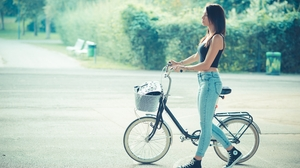 Women Women With Bicycles Bicycle Crop Top Long Hair Brunette Bare Midriff Converse 4K 3840x2400 Wallpaper