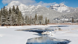 Mountain Nature River Snow Winter 2600x1733 Wallpaper