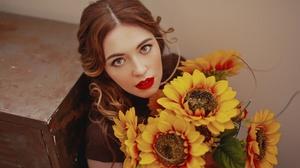 Woman Girl Redhead Sunflower Lipstick 2048x1365 wallpaper