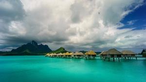 Bora Bora Bungalow Cloud Resort 3840x2160 wallpaper