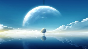Cloud Planet Reflection Sky Tree Water 2360x1480 Wallpaper