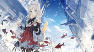Anime Anime Girls White Hair Eating Fish Rabbits Asuka Artist 3000x1854 Wallpaper