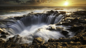 Sunset Sun Waterfall Waterscape Water Rocks Sky Clouds Photography Nature Outdoors Pawel Uchorczak 1920x1280 Wallpaper