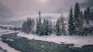 Nature River Snow Winter 2048x1398 Wallpaper