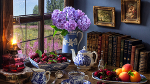 Book Bowl Fruit Hydrangea Lamp Pitcher Still Life Tea 5184x3456 Wallpaper