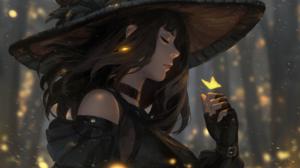Butterfly Girl Hat Magic Woman 4096x2560 Wallpaper