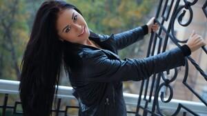 Model Women Smiling Black Jackets Hair Hanging Down Dark Hair Women Outdoors Red Lipstick 1920x1200 Wallpaper