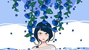 Ky Ka Jir Water Blue Eyes Flower Blue Hair 1903x1392 wallpaper