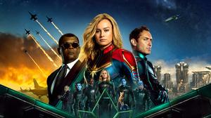 Brie Larson Carol Danvers Samuel L Jackson Nick Fury Jude Law Yon Rogg Marvel Comics 4950x3300 wallpaper