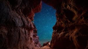 Cave Night Sky Starry Sky Stars 3840x2160 wallpaper