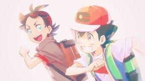 Ash Ketchum Goh Pokemon Smile Blue Eyes Brown Eyes Cap Two Toned Hair Black Hair 2048x1150 Wallpaper
