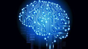 Brain Digital Art Artificial Intelligence Glowing Binary Cyan Black Background Simple Blue 2560x1600 Wallpaper