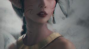 Trungbui Drawing Women Dark Hair Red Eyes Jewelry Gold Necklace Pierced Ear 1730x2295 Wallpaper