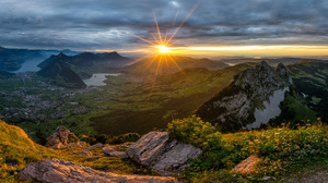 Nature Landscape Sunrise Sunset Mountains Alps Swiss Alps Switzerland 6143x2416 Wallpaper