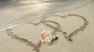 Bouquet Flower Heart Sand 2560x1600 wallpaper