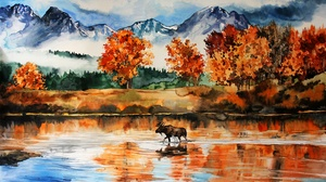 Elk Fall Lake Mountain Nature Painting Reflection Watercolor 3057x2148 Wallpaper