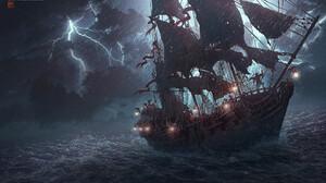 Artwork Digital Art Storm Lightning Ship Sea 1920x1141 Wallpaper