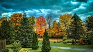 Fall Tree Foliage Sky Cloud 6360x4478 Wallpaper
