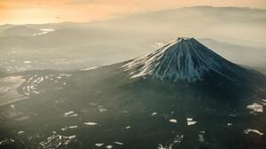 Aerial Japan Landscape Mount Fuji Mountain Volcano 2048x1367 Wallpaper