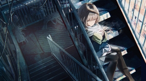 Anime Anime Girls Stairs Brunette Long Hair Flowerpot Wires Scarf Can City N S 4096x2160 Wallpaper
