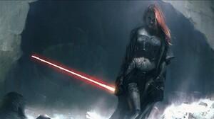 Sith Comic Art Star Wars Lightsaber Redhead Mara Jade Star Wars Villains 1920x1080 Wallpaper