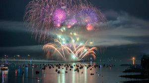 Boat Colorful Fireworks Night Ocean Sea Vancouver 2048x1366 wallpaper