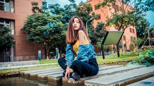 Asian Model Women Long Hair Dark Hair Depth Of Field Trees Pond Grass Building Sign Sitting Legs Cro 3840x2561 Wallpaper