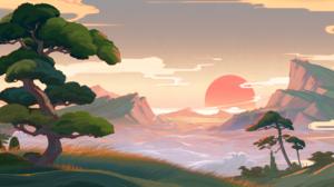 Genshin Impact Sunset Clouds Trees Hills Mountains Landscape Inazuma Video Game Art Video Games 4096x2048 Wallpaper