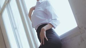 Model Teachers Asian Black Skirts Black Heels White Shirt Glasses Ponytail Window Leaning Depth Of F 4480x6720 Wallpaper