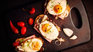 Food Still Life Eggs Cutting Board Tomatoes Chilli Peppers Toast 3840x2560 Wallpaper