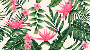 Abstract Flowers Vector Palm Trees Jungle Leaves Pattern 2126x2126 Wallpaper
