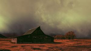 Cabin Shack Silent Hill Mist Landscape Village Yellowstone National Park Mormon Grand Teton National 5800x3867 Wallpaper