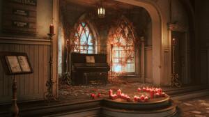 Carl Shedd ArtStation Dekogon Studios Artwork Digital Art Architecture Sun Rays Church Candles Piano 3840x2160 Wallpaper