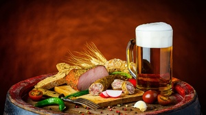 Alcohol Beer Drink Ham Pepper Sausage Tomato 2400x1580 Wallpaper