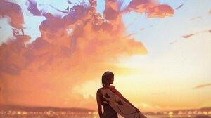 Illustration Nature Sea Beach Women Back Surfboards Clouds 1698x2048 Wallpaper