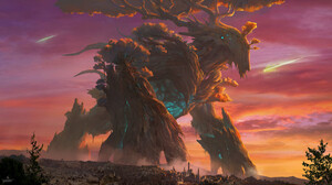 SY 37 Digital Art Landscape Fantasy Art Trees Creature Shooting Stars Sunrise Sunset Giant 1920x1064 Wallpaper