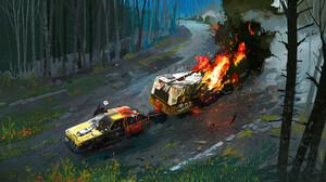 Ismail Inceoglu Artwork Car Vehicle Hindcarriage Fire Burning ArtStation 2500x1429 Wallpaper