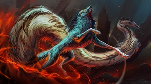 Artwork Creature Fantasy Art Dragon Wolf 2560x1440 Wallpaper