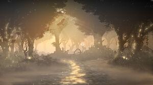 Silhouette Minimalism Yellow Path Forest Sun Rays 1920x1080 Wallpaper