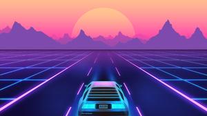 Retrowave Synthwave Minimalism DeLorean 1920x1245 wallpaper