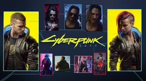 Cyberpunk 2077 Johnny Silverhand Male Vee Female Vee Cyberpunk Video Games Video Game Art Collage Sc 1920x1080 wallpaper
