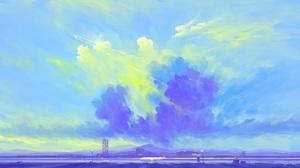 Digital Painting Clouds Sky Airbus Airport BisBiswas 1920x1080 Wallpaper