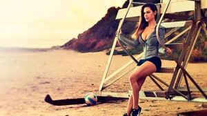 Women Model Shorts Sneakers Looking Away Sitting Sand Gym Clothes Women Outdoors 2048x1365 Wallpaper