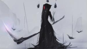 Aoi Ogata Grim Reaper Scythe Mask Black Dress Anime Anime Girls 1920x1080 Wallpaper