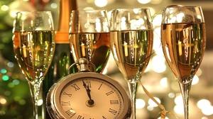 Champagne Clock Light New Year 1920x1174 Wallpaper