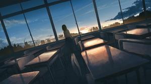 Classroom Girl Sunset 2723x1716 Wallpaper