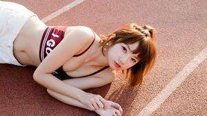 Asian Model Women Long Hair Brunette Lying Down Shorts Tank Top Ponytail 2560x1706 Wallpaper